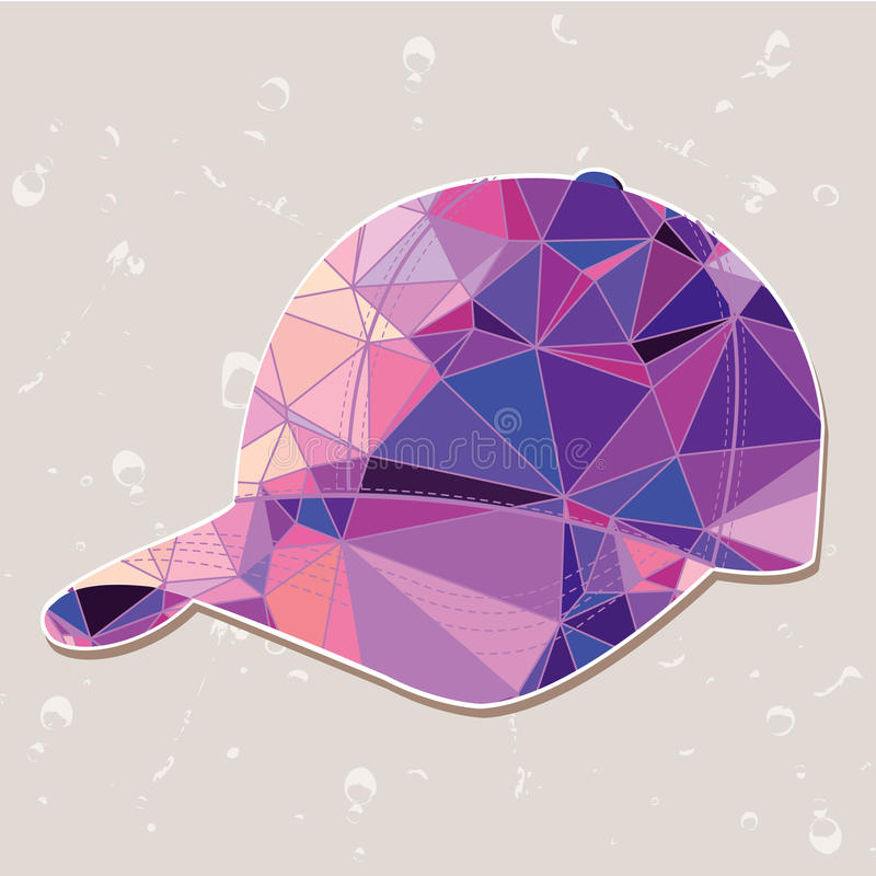 Retro baseballmössa som göras av trianglar vektor illustrationer