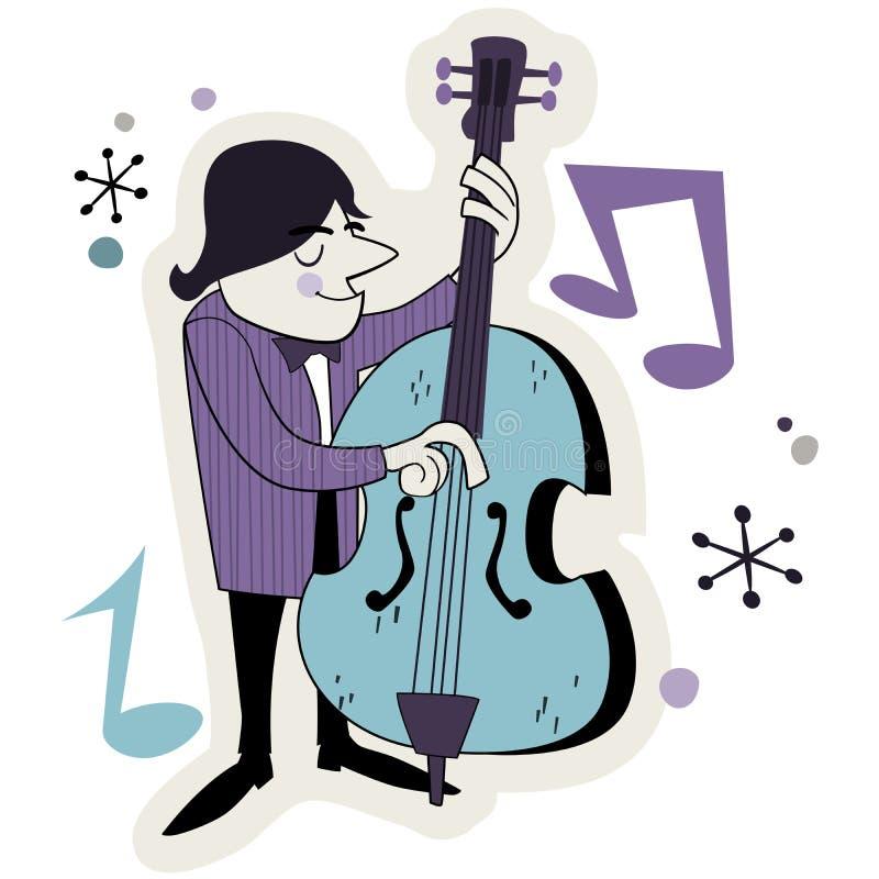 Retro Bass Player Illustration Stock Image