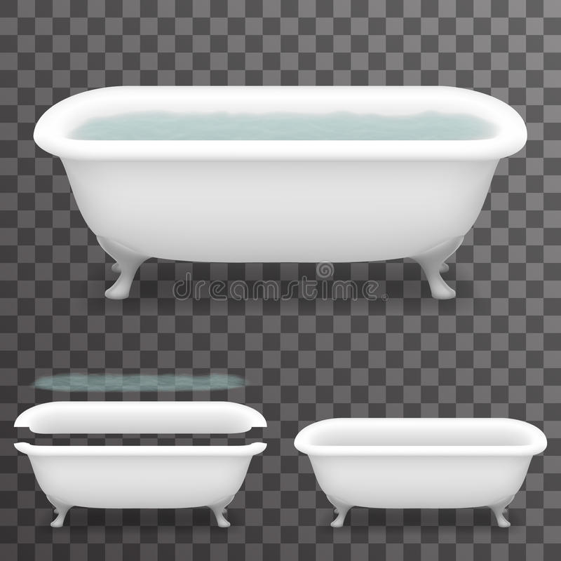 Free Retro Bath With Water Realistic 3d Parallax Bathtub Transparent Template Background Mock Up Design Vector Illustration Royalty Free Stock Image - 87359186