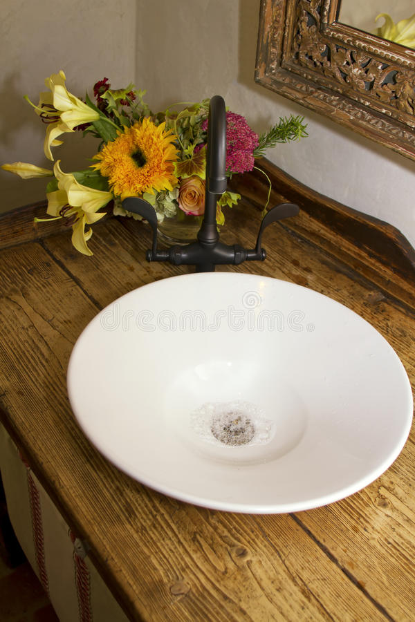 Download Retro Bathroom Bowl Sink, Faucet, And Counter Stock Photo - Image  of bath