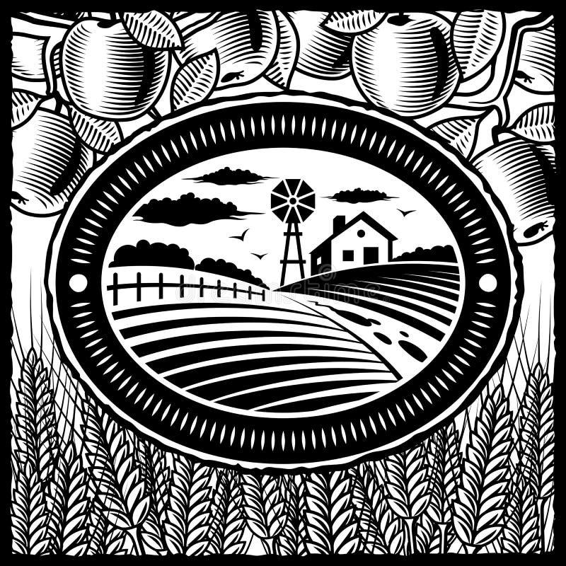 Retro- Bauernhof Schwarzweiss lizenzfreie abbildung
