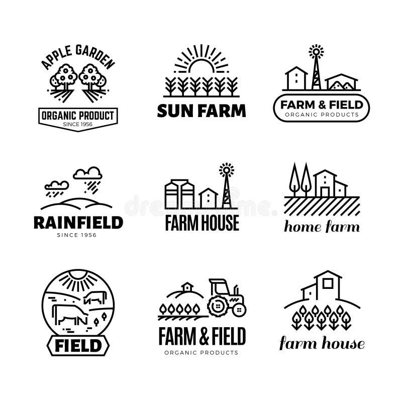 Retro- Bauernhof und Bioprodukte vector Embleme und Logos Weinleselinie, die Aufkleber bewirtschaftet stock abbildung