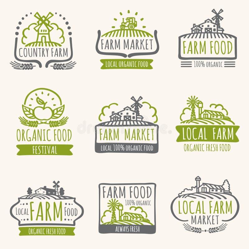 Retro- Bauernhofmarktzeichen Vektoraufkleber des biologischen Lebensmittels der Weinlese neue mit Erntefeld vektor abbildung