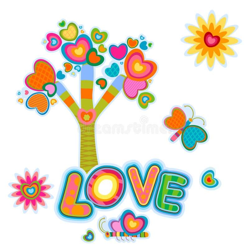 Retro- Baum der Liebe stock abbildung