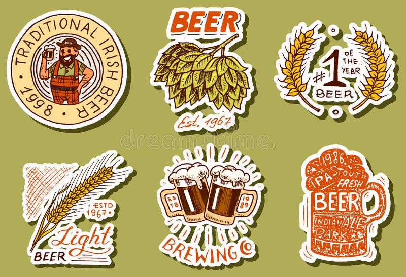 Retro Bavarian beer stickers. Alcoholic Label with calligraphic elements. Vintage American frame for poster banner royalty free illustration