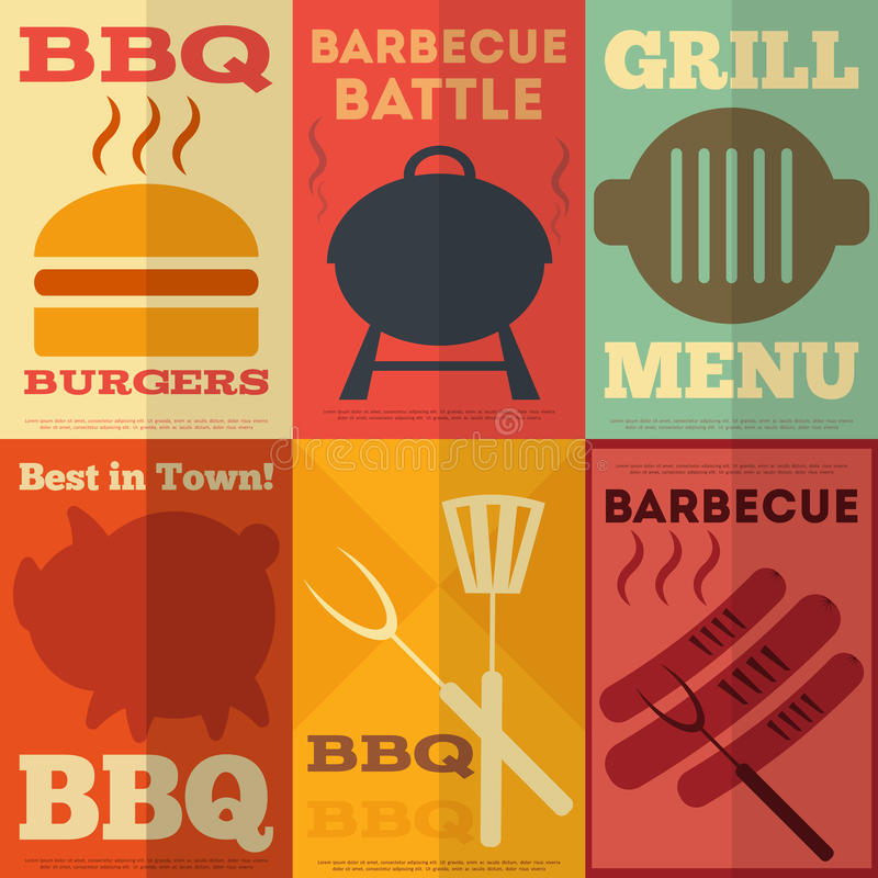 Retro BBQ posters collection stock illustration