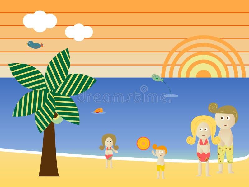 Retro Beach Family. Retro Beach Sunset Landscape Family Vacation stock illustration