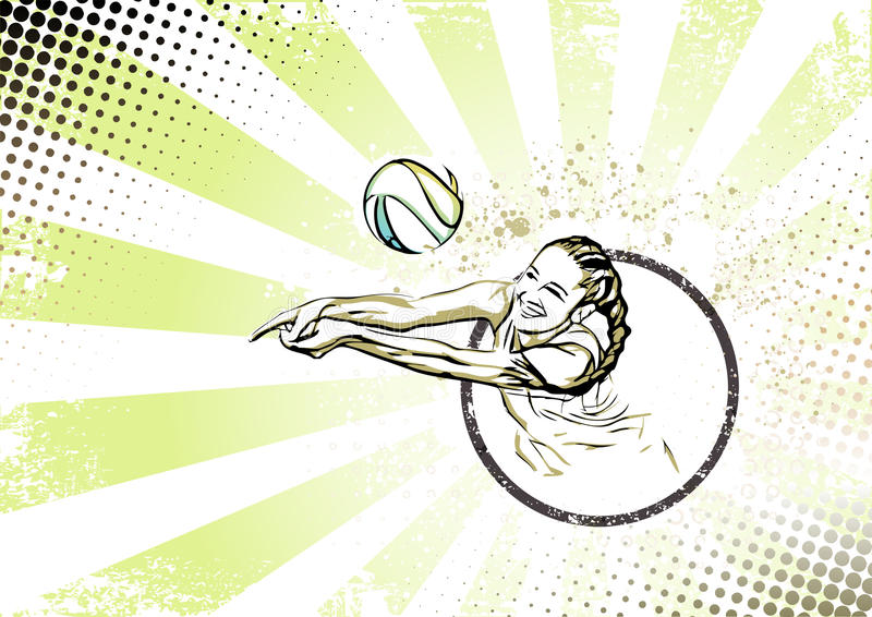 Abstract Design Of A Beach Volleyball Player Vector Image: Retro Beach Volleyball Poster Background Stock Vector