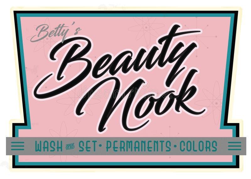 Retro Beauty Salon Nook Parlor Sign Advertisement vector illustration