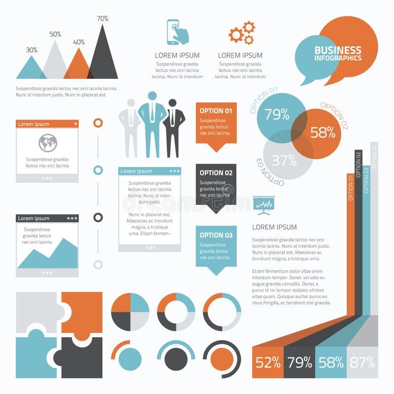 Retro bedrijfsreeks van infographic elementenvector  stock illustratie