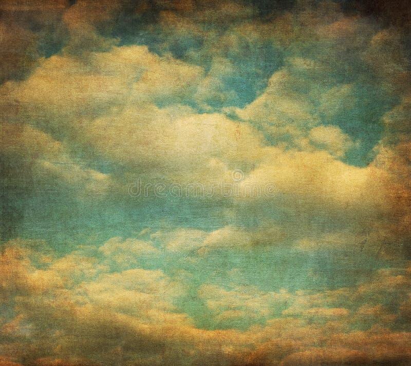 Retro beeld van bewolkte hemel vector illustratie