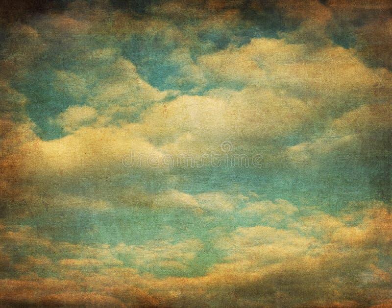 Retro beeld van bewolkte hemel stock illustratie