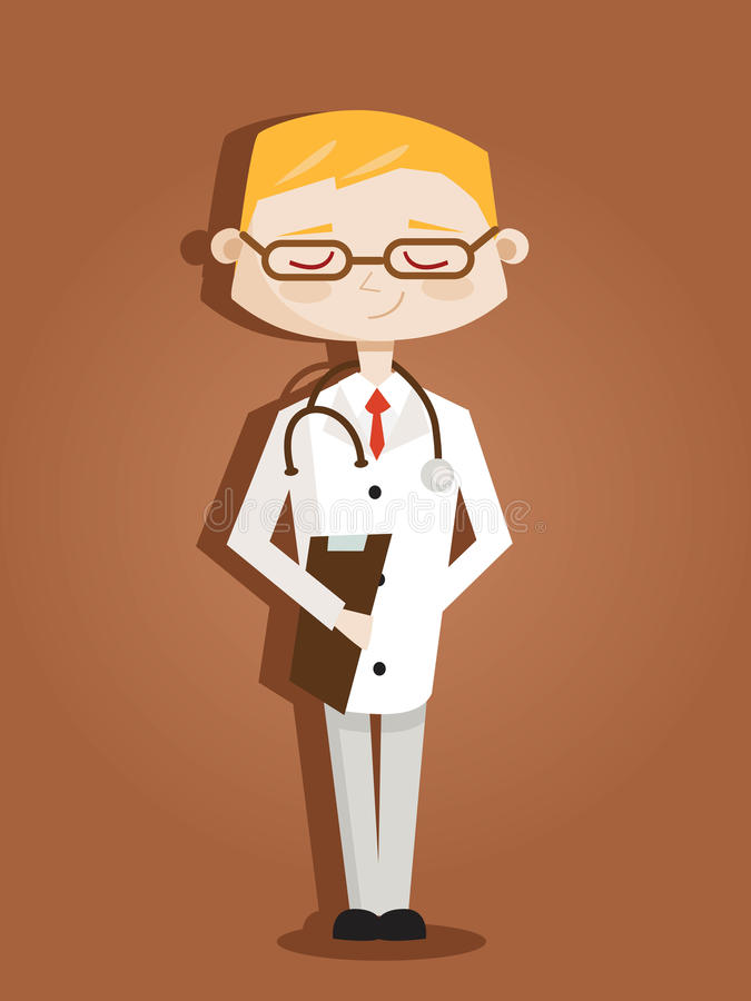Retro beeldverhaal arts stock illustratie