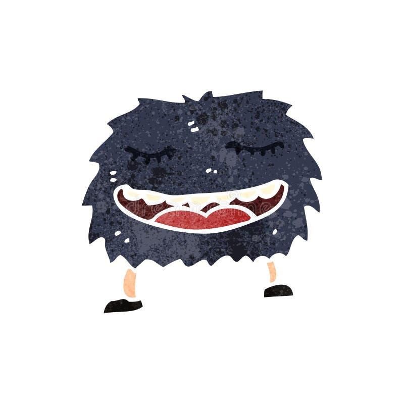 retro beeldverhaal het grijnzen monster vector illustratie