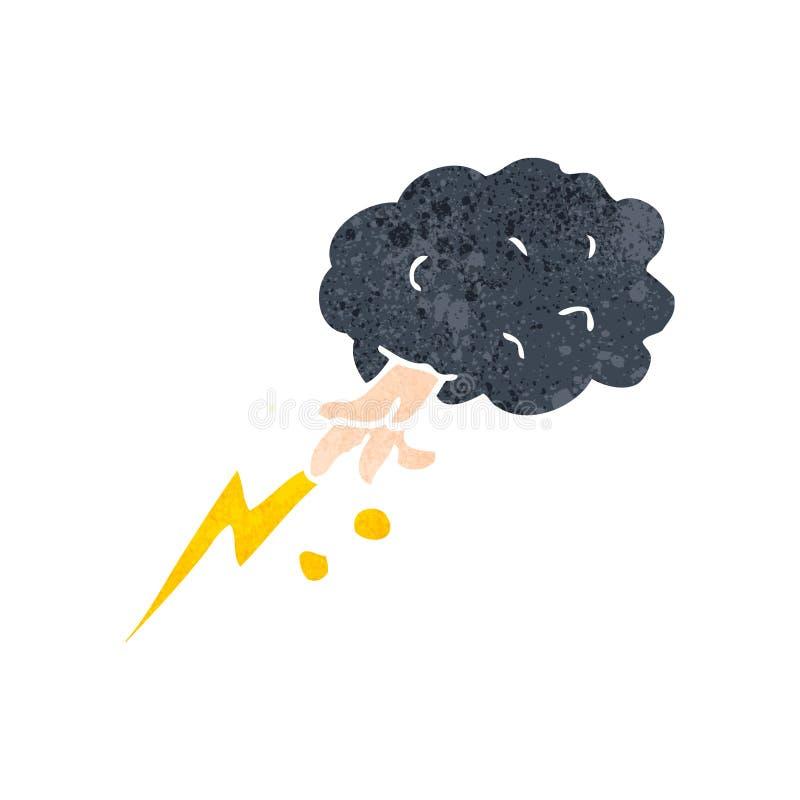 retro beeldverhaal smiting hand van wolk vector illustratie