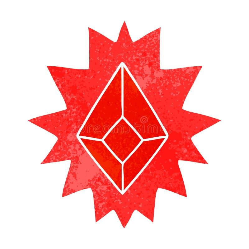 retro beeldverhaalkrabbel van een rood helder juweel vector illustratie