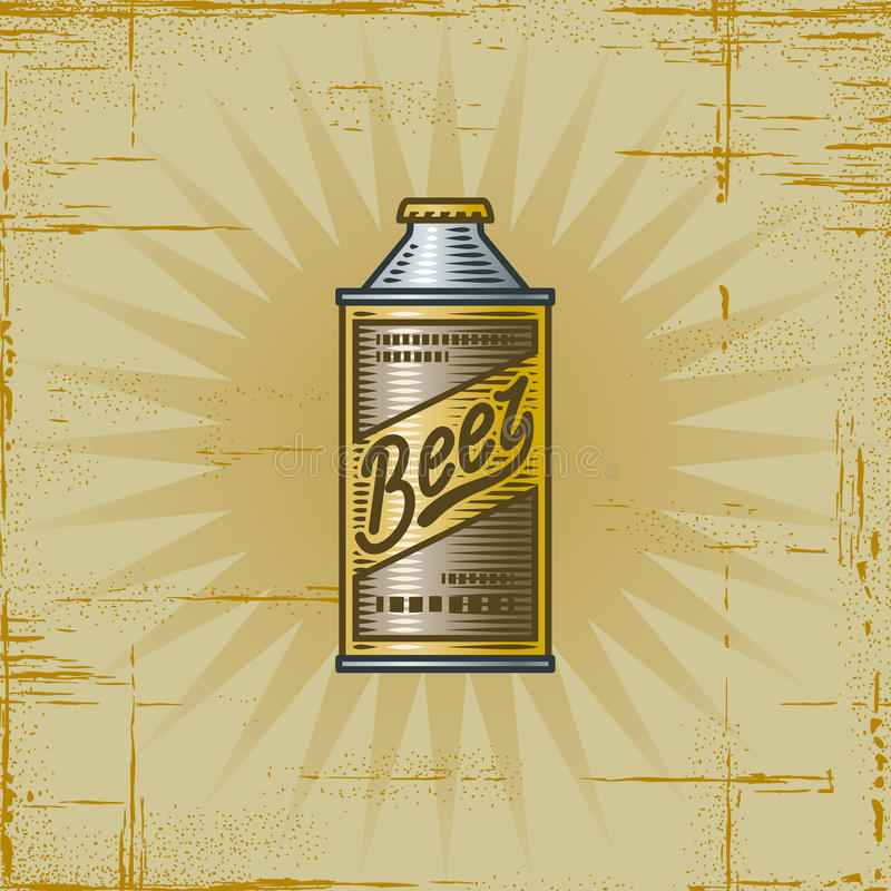 Download Retro Beer Can stock vector. Image of engraving, woodcut - 16436433