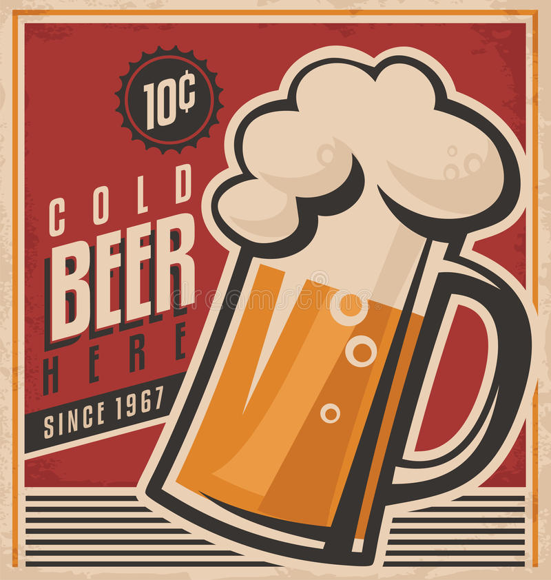 Free Retro Beer Vector Poster Royalty Free Stock Images - 36848919