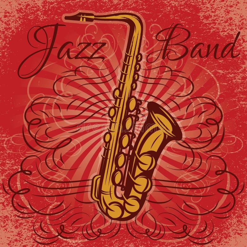 Retro befordrings- affisch för jazzkonserten med saxofonen stock illustrationer