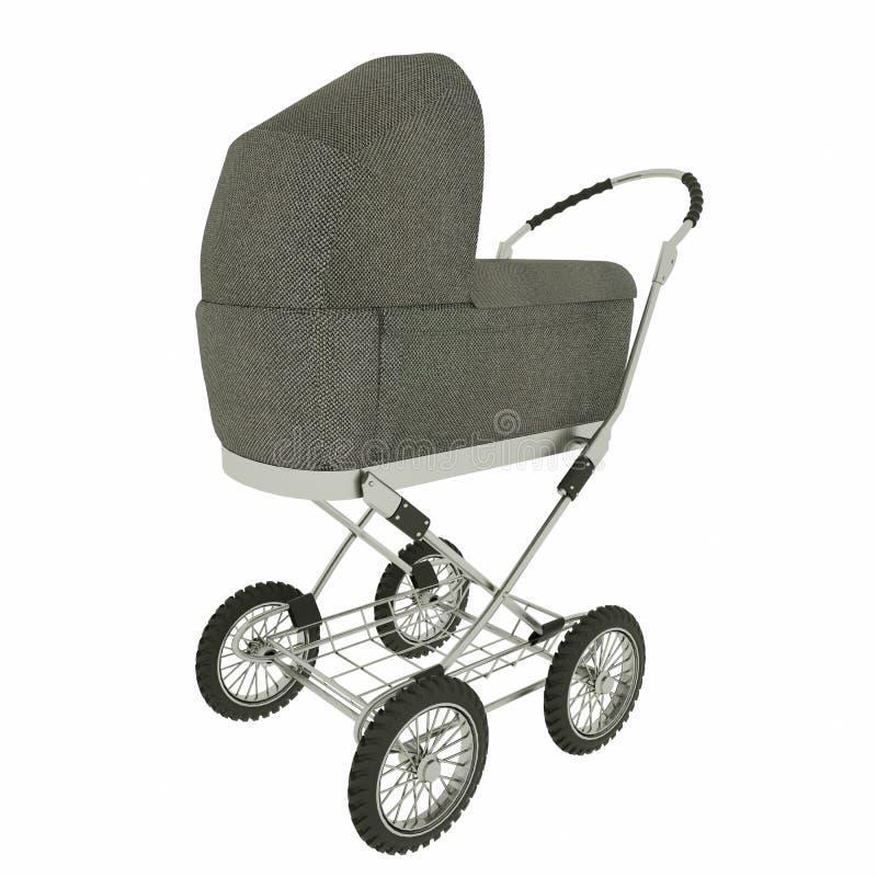 Retro behandla som ett barn sittvagnen som isoleras p? vit bakgrund framf?rande 3d arkivfoton