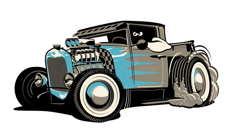 Retro- beheizter Stab der Karikatur getrennt auf weißem Hintergrund lizenzfreie abbildung