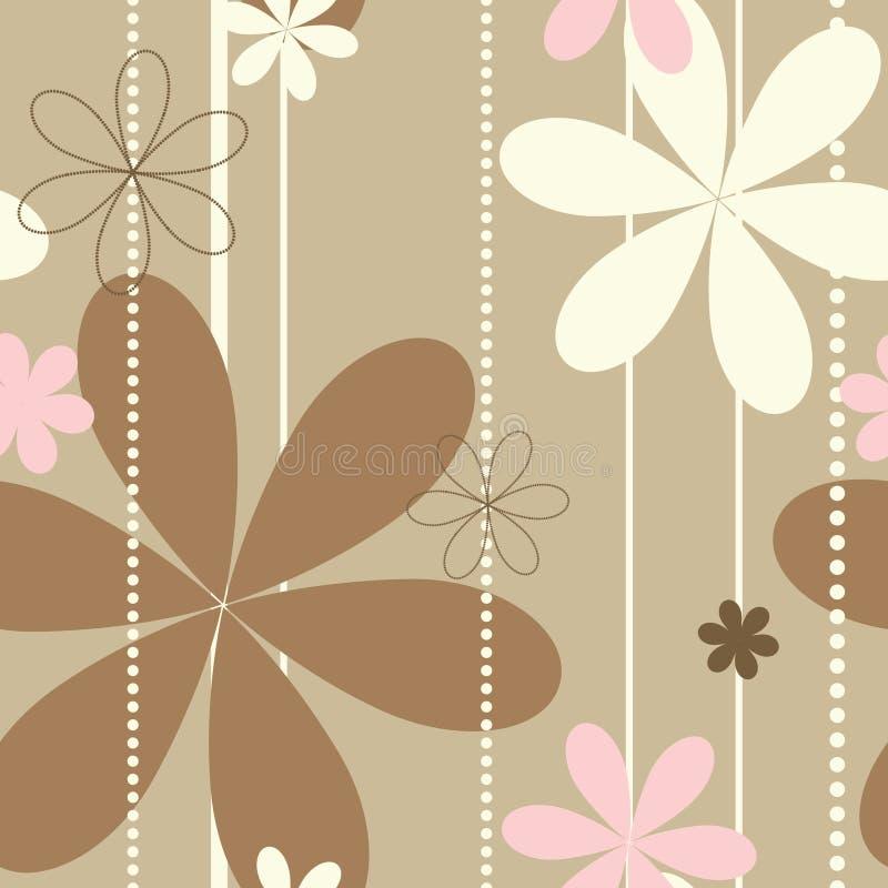 Retro beige bloemen naadloos patroon stock illustratie