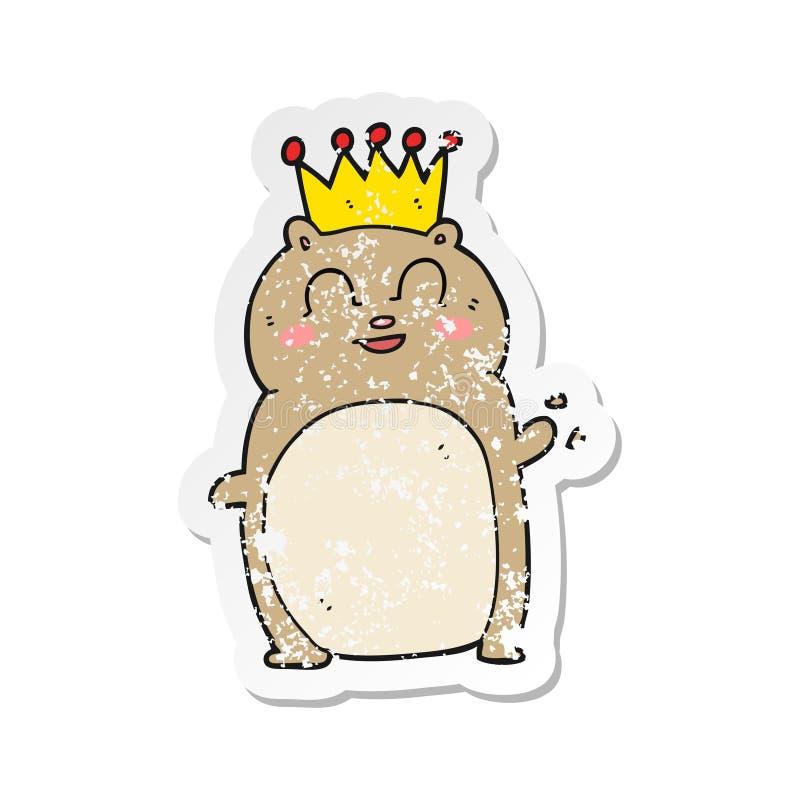 retro bekymrad klisterm?rke av en vinkande hamster f?r tecknad film stock illustrationer