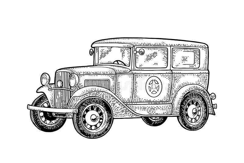 Retro berlina del volante della polizia con la stella dello sceriffo Incisione nera d'annata illustrazione di stock
