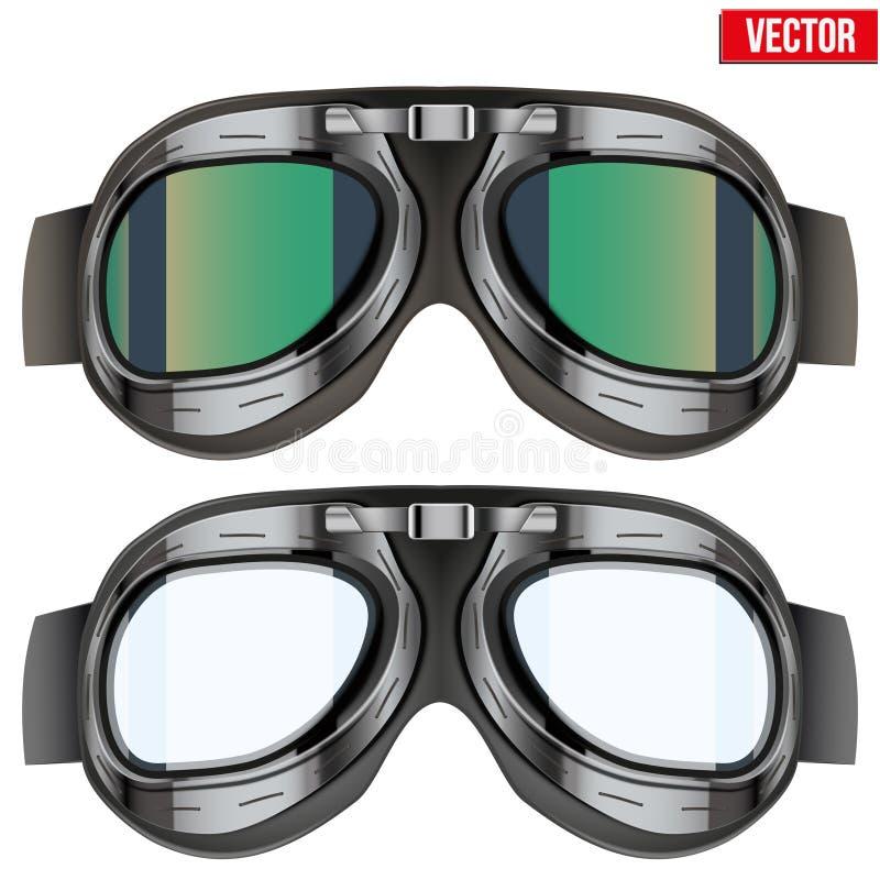 Retro beschermende brillen van vliegeniers proefglazen geïsoleerde royalty-vrije illustratie