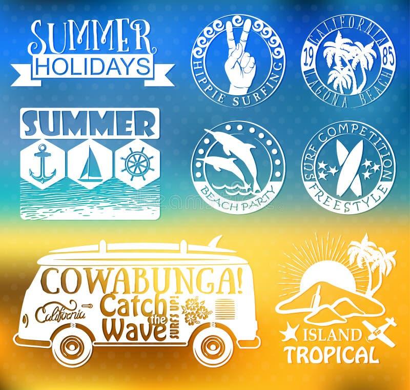 Retro beståndsdelar för sommar som surfar designer royaltyfri illustrationer