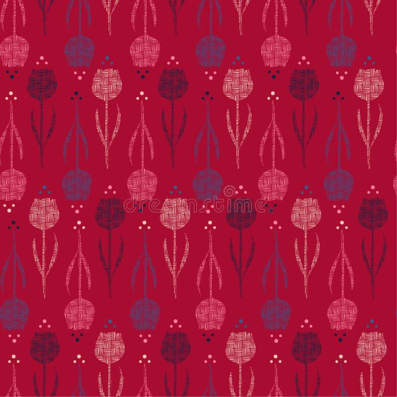 Retro Bezszwowa kreskowa ręka rysująca sylwetka tulipanowy kwiatu wzoru wektorowy projekt dla mody, tkaniny, tapety, sieci i wszy royalty ilustracja