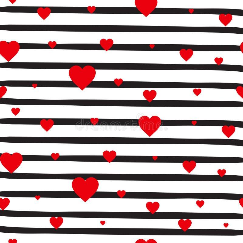 Retro Bezszwowi Deseniowi Czerwoni serca Na Pasiastym Białym tło walentynki ornamencie royalty ilustracja