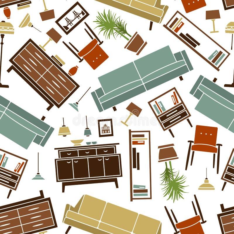 Retro bezszwowy kolorowy domowy furnitures wzór ilustracji