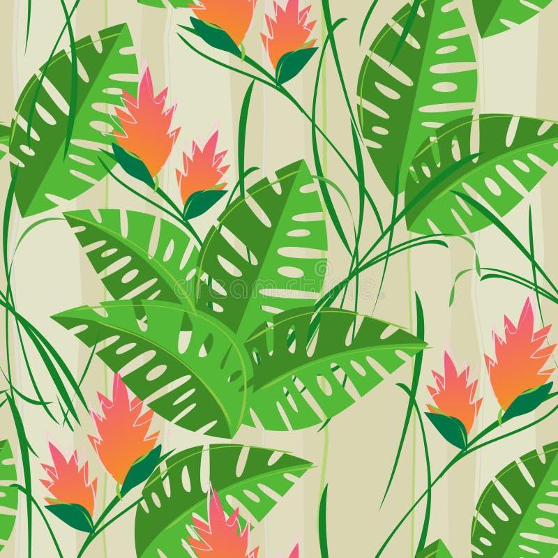 Retro Bezszwowy Tropikalny kwiatu liścia wzoru tło ilustracja wektor