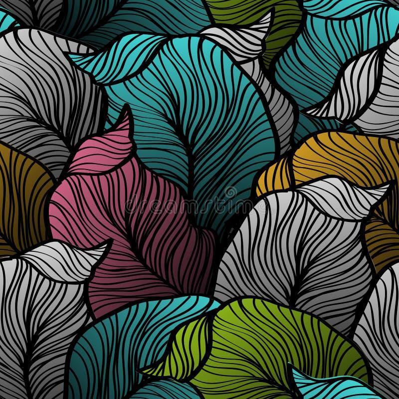 Retro bezszwowy wzór z abstrakcjonistycznymi doodle liśćmi