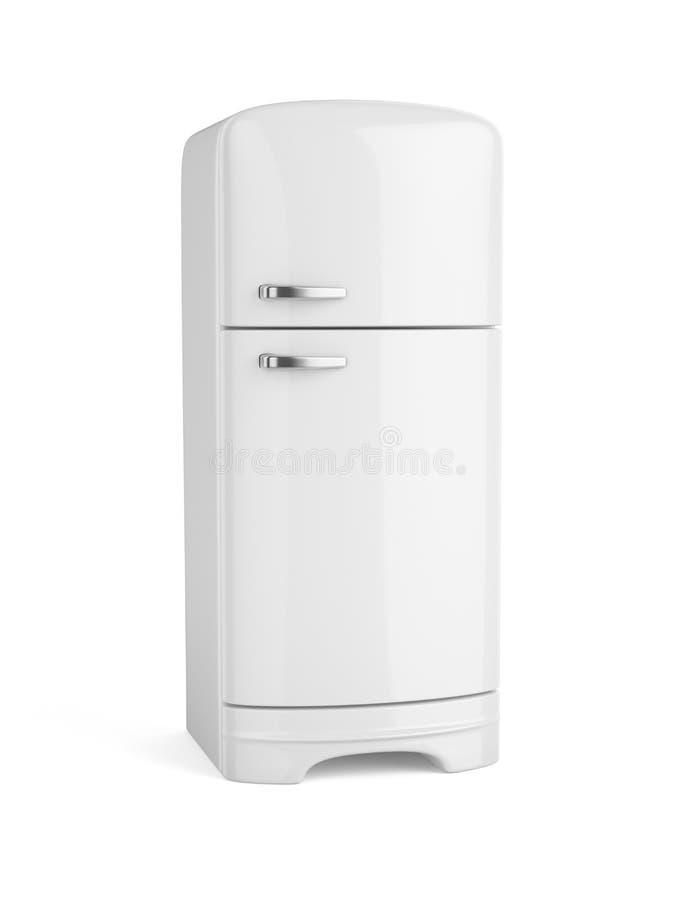 Retro biała fridge chłodziarka odizolowywająca ilustracja wektor