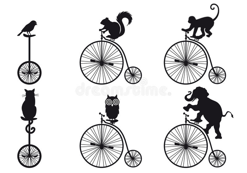 Retro bicycle with animals, vector set royalty free illustration