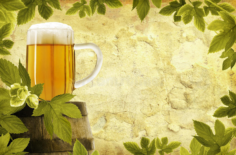 Retro bierachtergrond royalty-vrije stock afbeeldingen