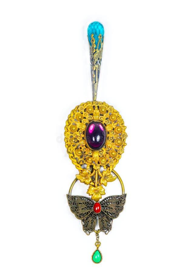 Retro bijouterie decorato di progettazione dei gioielli su fondo bianco fotografie stock libere da diritti