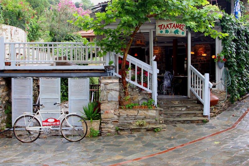 Retro bike vintage restaurant, Greece royalty free stock photo