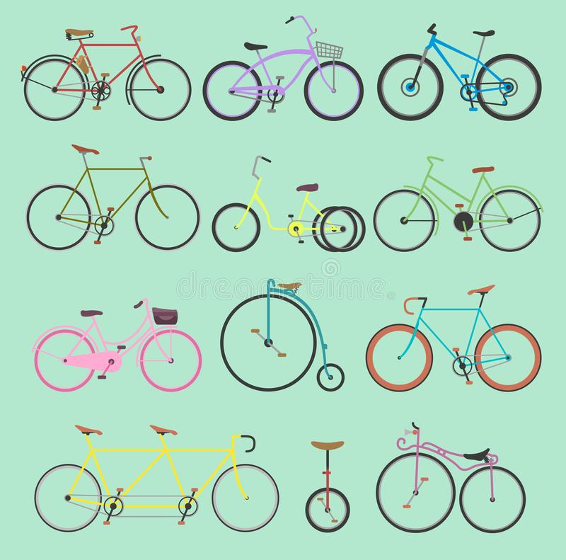 Free Retro Bike Vintage Vector Old-fashioned Girls And Hipster Transport Ride Vehicle Bicycles Summer Transportation For Royalty Free Stock Image - 110420276