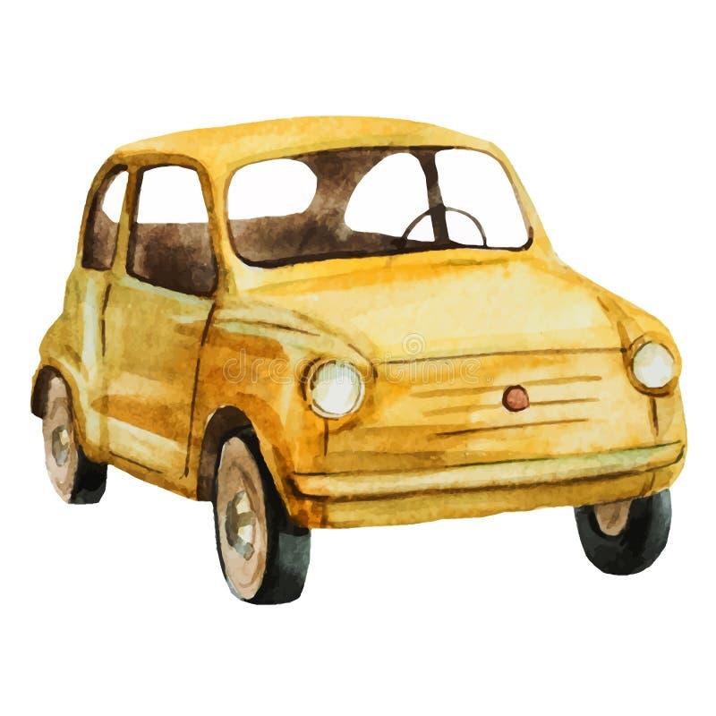 Retro bil för trevlig vattenfärg royaltyfri illustrationer
