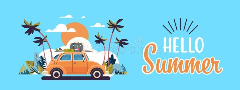 Retro bil med bagage på den tropiska solnedgångstranden för tak som surfar horisontalbanret för tappninghälsningkort med bokstäve vektor illustrationer