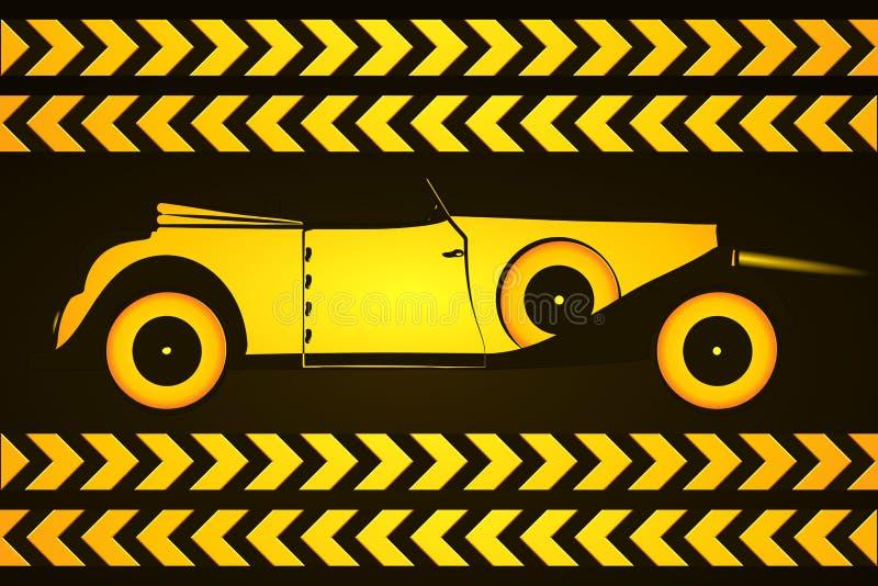 Retro bil med vägmärken vektor illustrationer