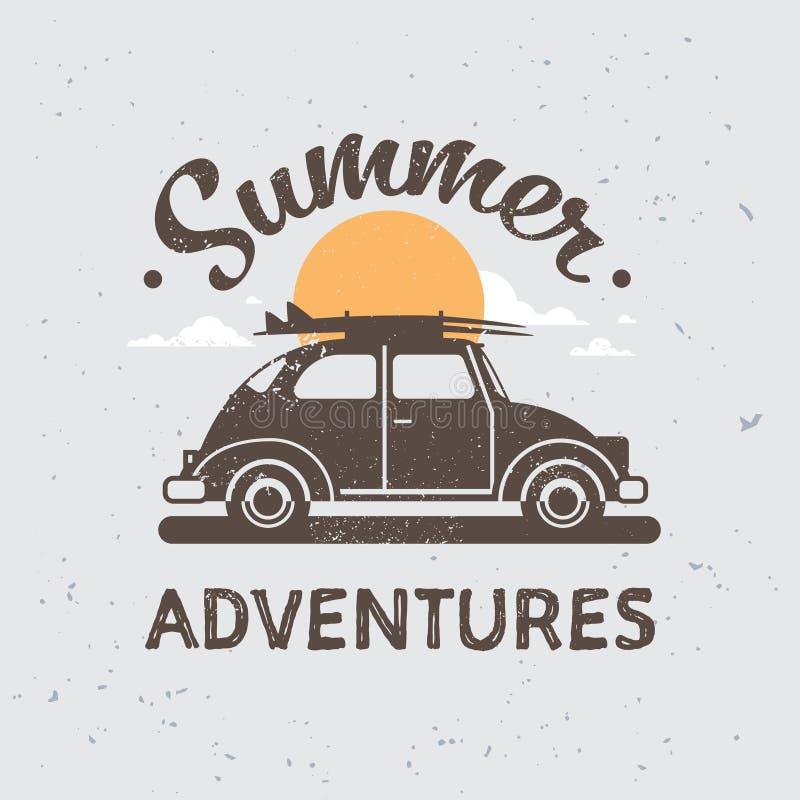 Retro bilaffärsföretag med bagage på taksolnedgången som surfar tappninghälsningkortet med lägenheten för bokstävermallaffisch royaltyfri illustrationer
