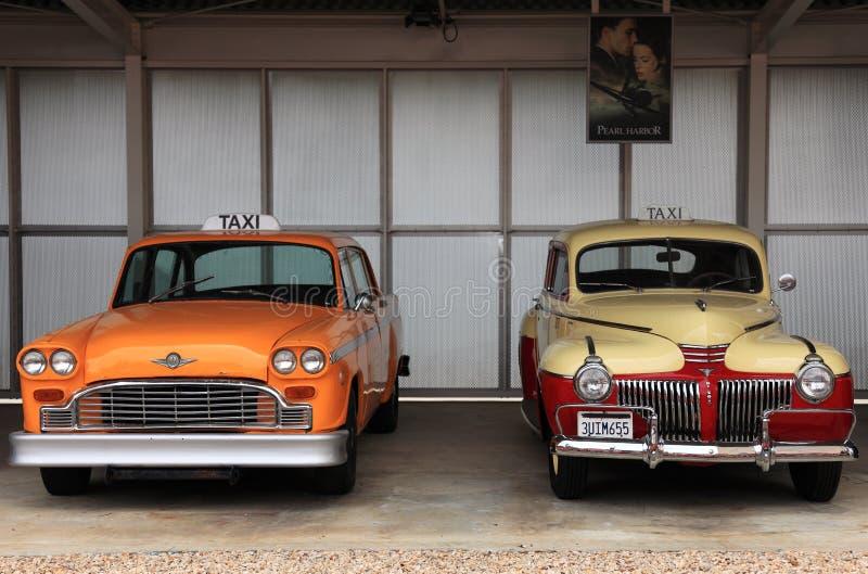 retro bilar taxar arkivbild