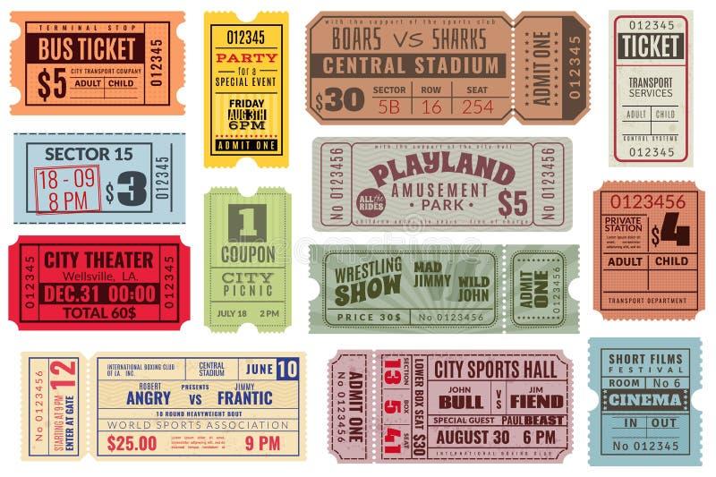 Retro bilety Rocznika bileta kinowy koncert i festiwalu wydarzenie, kino talon Cyrkowy przedstawienie, raffle papierowy alegat ilustracja wektor