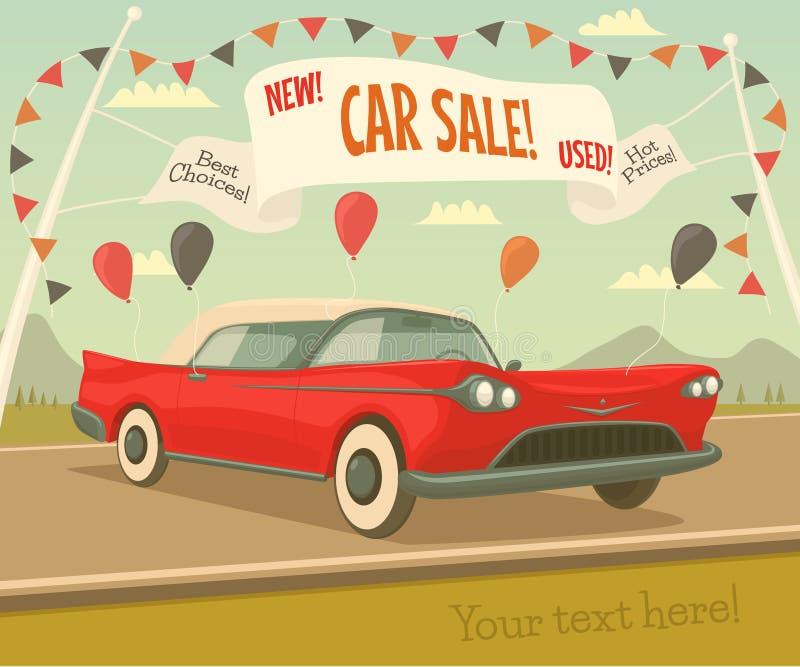 Retro bilförsäljning vektor illustrationer