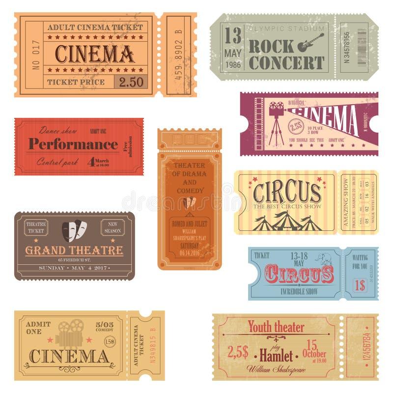 Retro biljetter eller gamla pappers- kuponger för show royaltyfri illustrationer