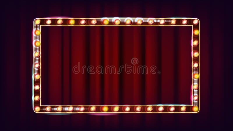Retro billboardu wektor Olśniewająca światło znaka deska Realistyczna połysk lampy rama 3D Elektryczny Rozjarzony element Rocznik ilustracji